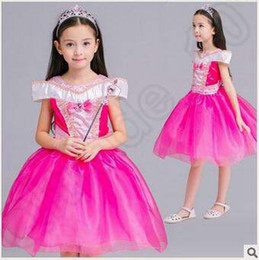 Wholesale Sleeping Beauty Dresses For Girls - Sleeping Beauty Aurora Lace Dress Girls Flower Pearl Dress Kids Beauty Princess Dress for Party Birthday Costume TuTu Dress CCA5237 20pcs