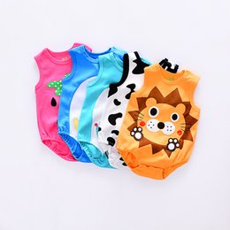 Wholesale Cheap Infant Rompers - DHL free 50pcs Cheap Baby Strawberry Rompers Infant Cow Jumpsuit Overall Short Sleeve Body Suit Baby Clothing Set Summer Cotton suit