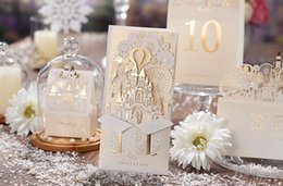 Wholesale European Invitations - Customized Printing Laser Cut Hollow Wedding Invitations cards European Style 3D Castle Wedding Invitation Envelope Wedding Supplies Cards