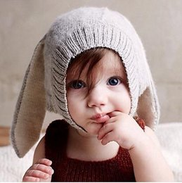 Baby Hats Rabbit Ears Knitted Kids Caps Autumn Winter Baby Girls Hats  Lovely Infant Toddlers Beanies for Baby Photo Props dcb4a8b44349