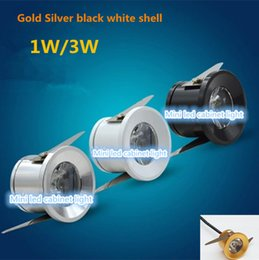 Wholesale Knob Cabinet Gold - Wholesale- 50PCS Dimmable Mini led downlight 1W  3W110V 220V Spot led light Kitchen cabinets Jewelry lamp Black White Silver Gold