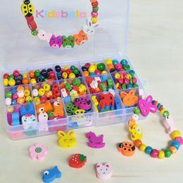 Wholesale Wholesale Kids Wooden Jewelry - Wholesale- Kids Beads Educational Toys For Girls DIY Beads Jouet Mixed Wooden Beads Puzzle Toys Jewelry Necklace Bracelet Kit Block Toy