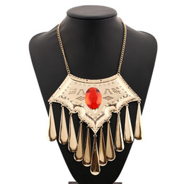 Wholesale Gemstone Resin Statement Choker Necklaces - New Arrival Exaggerate Punk National Choker Statement Necklace Alloy Collars Pendant With Gemstone Women Dress Fine Jewelry