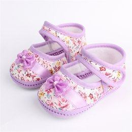 Wholesale Toddler Floral Boots - Wholesale- Baby Kid Floral Bow Shoes Soft Sole Comfort Infants Walking Toddler Boots