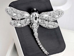 Wholesale African Costume Dresses - Vintage Full Rhinestone Dragonfly Brooches Pins Multicolors Crystal Animal Costume Pin Breastpin Party Dress Jewelry Birthday Gift