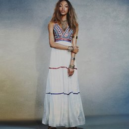 Wholesale Sexy Cotton Night Gown - Casual Dresses for Women Summer Dress V-neck Nail Bead Gold Thread Embroidery Condole Belt Backless Dress Stitching Gown