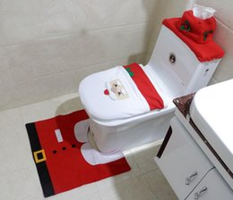 Wholesale Thick Bathroom Rugs - Wholesale- 2016 Santa Claus Toilet Seat Cover and Rug Bathroom Set Contour Rug Christmas Decorations for Home Christmas Gift