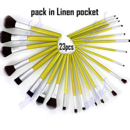 Wholesale 23pcs Makeup Brushes - 23pcs makeup brushes set Linen pocket cosmetics brush natural Bamboo handle blush eyeshadow powder lipstick eyebrow bronzer brush