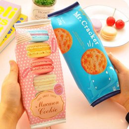 saco de escola coreano de couro Desconto Atacado-Coreano Criativo Macaron Cracker Escola Lápis Caso Bonito bolsa de Couro PU bolsa Kawaii Artigos de Papelaria bolsa de material escolar escritório zakka