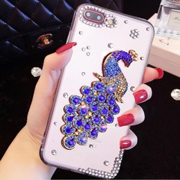 Wholesale Iphone 4s Bling Butterfly - Luxury Crystal Diamond Clear Ballet Peacock Butterfly Phone Cases For Apple iphone 4S 5S 6 6S Plus 7 7Plus bling Rhinestone Case