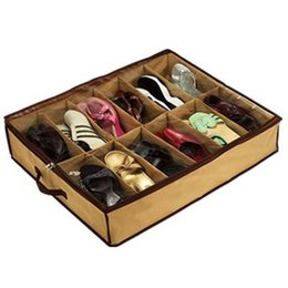 Wholesale Used Shoes For Wholesale - Foldable Fabrics Shoe Boxes Casual Shoes Organizer Saving Space Home Using Storage Boxes for 12 Pairs Shoes