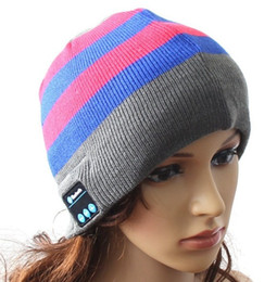 Wholesale Red Blue Song - Fashion calling and listening-song wireless beanie 10 meters signal Acrylic headset caps stereo blueteeth HD sound quality factory prices