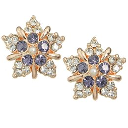 Wholesale Gold Snowflake Stud Earrings - New Rose Gold Color with Colorful Rhinestone Snowflake Stud Earrings Brincos For Women Gift Wholesale Brincos