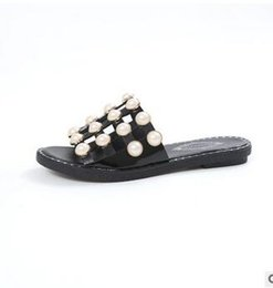 Wholesale Black Pearl Flat Back - 2017 summer top quality luxury brand Genuine Leather sexy Breathe pearl Rivets hollow beach flats Beach casual slippers