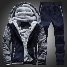 Wholesale Fleece Coolers - Winter men sweat suits fleece warm mens tracksuit set casual jogger suits sports suit cool jacket pants and sweatshirt set