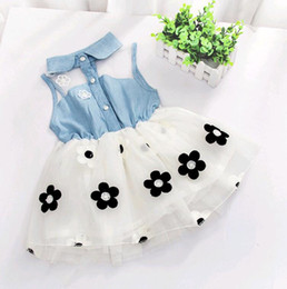 Wholesale cheap color jeans - Korean Flower Baby Girls Dresses Turn Collar Jeans Top Yarn Patchwork Tutu Baby Skirts for Summer 4pcs lot Cheap