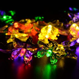 Wholesale Led Solar Butterfly Lights - Wholesale-7.5M 40 LED Led Strip Solar-Powered Fairy Lights Butterfly Garland Light Holiday Decoration Outdoor Garden Lamp Christmas Lights