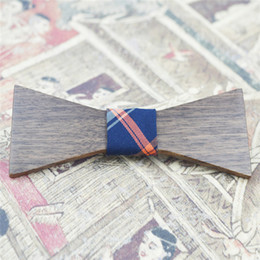Wholesale Tie Clips Sell - Real Wooden bowtie with unique design Rectangle Walnut Wood tie for evening party hot selling and high quality