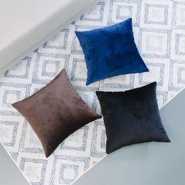 "Wholesale Navy Throws - Latest design European style Throw pillow cover Durable soft velvet pure color square shape Hidden zipper Fashion home decor 18""*18"" 20""*20"""