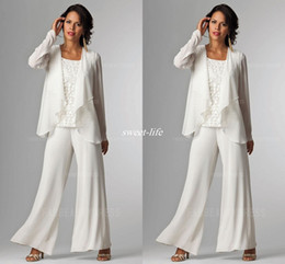 Wholesale Ladies Silver Trouser Pants - Ivory White Chiffon Lady Mother Pants Suits Mother of The Bride Groom mother bride pant suits With Jacket Women Party Dresses Trouser Suits