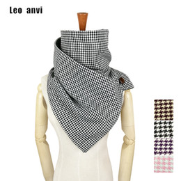 Wholesale Men Houndstooth Scarf - Wholesale- Leo anvi winter ring scarf women Novelty Houndstooth plaid Keep warm infinity scarf men tube luxury brand shawls and scarves