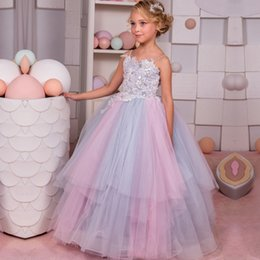 Wholesale Kids Pink Corset - Spaghetti Straps Long Little Girls Pageant Dress With Sweep Train Lace Applique Corset Ball Gown Kids Prom Dresses 2017 Cheap