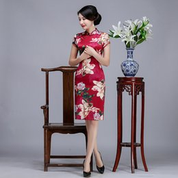 Wholesale Sexy Chinese Party Dresses - 2017 New summer classic high quality plus size short sleeve real silk digital printed flowers red short cheongsam daily Chinese dress qipao