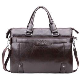 Wholesale Vintage Men Briefcase - High Capacity Hollow Out Bottom Men's Leather Briefcase Bag For 14'' Laptop Vintage Business Leather Mens Handbags