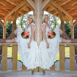 Wholesale Champagne Graden Wedding - High Low Country Style Full Lace Wedding Dresses Vestido 2017 Vintage V Neck Cap Short Sleeves Summer Graden Boho Cheap A-line Bridal Gowns