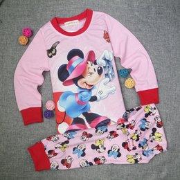 Wholesale Wholesale Childrens Pyjamas - Children's Set Mickey Mouse Pants Long Sleeve Pink Childrens Girls Long Sleeve Character Pyjamas Pjs in Kids