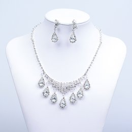 Wholesale Necklace Sets Fashion Jewelry - 15003A Fashion Cheap In Stock Elegant Wedding Bridal Prom Rhinestone Pearlsl Jewelry Necklace Earring Set Hot Sale
