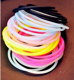 Wholesale Bracelet Ribbon Hair Tie - Silicone Hair ties or Bracelet Night Glow Elastic for kid girls durable rubber band glitter kid hair accessory pony tail holder
