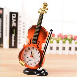 Wholesale Cartoon Violin - Wholesale-Cartoon Alarm Clock Simulation Violin Art Craft Electronic Desktop Table Clock Creative Living Room Plastic Decoration