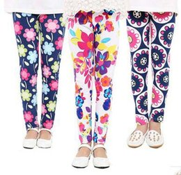 Wholesale Girls Matching Tight - Spring Hot New Arrival 10 Colors Baby Girls Leggings Kids Flowers Printed Trousers Children All-match Tights Girl Legging Pants