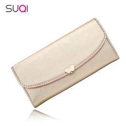 Wholesale Cute Photos Love - Wholesale- SUQI Cute Fashion Tide Love Diamond Cross Pattern Flip Long Wallet Women Purse Female Wallet Pouch Portefeuille Femme
