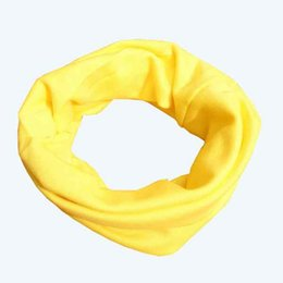 Wholesale Muffler Scarf Solid - Wholesale- Solid Color Children Baby Muffler Warm Scarf Boys Girls Cotton Knitted O Ring Style Knitting Kids Neck Warmer Neckerchief