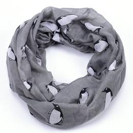 All'ingrosso-Pinguino stampa sciarpa infinito donne bandana echarpe mantellina marchio hijab rosa scialli e sciarpe foulard foulard femme sjaal 2015 cheap pink infinity scarfs da sciarpe infinite rosa fornitori