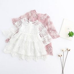 Wholesale Knee Hight Dresses - Hight Quality Babies children's clothing 2-7T Kids Girl Princess Floral Dress Baby Girls Lace tutu Dresses Girl Spring Party Dress