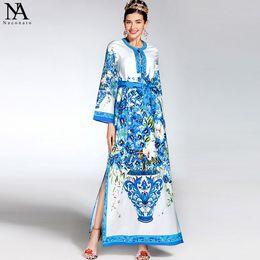 Wholesale Maxi Dresses Designs - New Arrival 2017 Women's Beaded Collar Long Sleeves Printed Floral Loose Design Side Split Elegant Long Runway Dresses