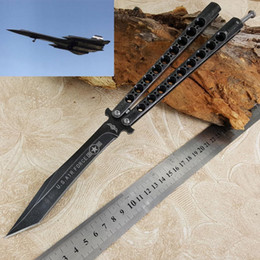 Wholesale Bird Hunting - (2 models) 29CM Black Bird Balisong Butterfly Knife 440C blade Whole stainess steel Handle Carbon fiber BM BM42 Camo