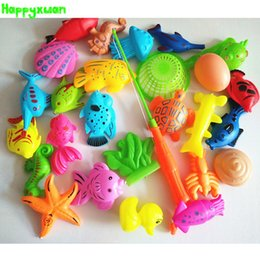 Wholesale Plastic Fishing Reels - Happyxuan 27pcs set Funny Magnetic Fishing Play Kids Game 1 Poles 1 Net 25 Plastic Magnet Fish Indoor Outdoor Fun Bath Toy