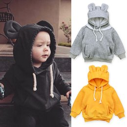 Wholesale Long Jacket Ears - 2017 New Children Spring Autumn Sweater Baby Bear Ears Long Sleeve Hooded Jacket INS Infant Baby Keep Warm Coat 3 Colors
