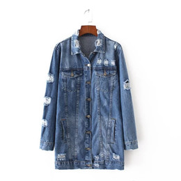 Wholesale Bow Cut Out - High Quality 2017 Long Jeans Jacket Women Basic Coats Fashion Vintage Denim Jackets Casual Loose Coats Overcoat Blue Ladies