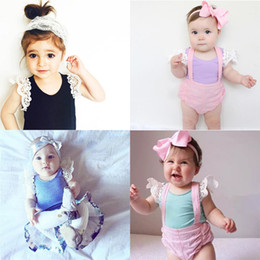 Wholesale Lace Shirt Top Baby Girl - Girls T-shirt Baby Clothes Casual Cotton Cute Solid Lace Fly Sleeve Tops T-shirts Children Kids Clothing X50