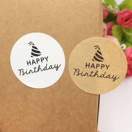 Wholesale Sticker Happy Birthdays - Kraft Paper Sticker Labels 3.5cm Round Happy birthday Gift Packaging Labels stickers self-adhesive Sealing boxes labels