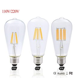 2017 led edison lâmpada e27 dimmable led filamento do vintage 4 w 6 w 8 w st64 220 v 110 v retro edison lâmpadas led lâmpada substituir luzes incandescentes de