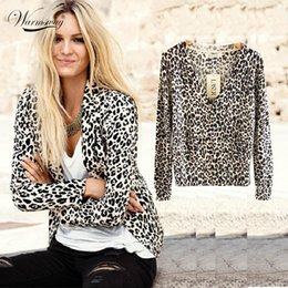 Wholesale Sexy Leopard Sweaters - Wholesale-2016 New Women's Spring And Autumn Fashion Sexy Leopard Cardigan Sweater Slim Knitted Cardigan Jacket Outerwear WS-015