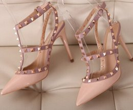 Wholesale ivory high heels for wedding - Free shipping Spring Summer New Sexy Pumps Valentine T Strap High Heels Shoes for Women Fashion Sandals Thin Heels Rivets Heeled Shoes