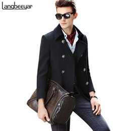 Wholesale Trench Coat Collar Up - Wholesale- High-grade Fashion Brand-Clothing Men Wool Coat Double Breasted Mens Pea Coat Slim Fit Wool & Blends 2017 Winter Coat Man Trench