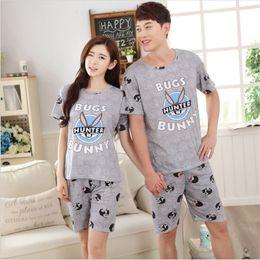 Wholesale Cute Rabbit Wearing Clothes - 2017 new summer lovers' pajamas sets short sleeved rabbit cute men&women sleepwear silk Cartoon Leisure Home wear loose clothes